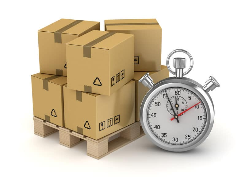Cardboard on Pallet and Stopwatch
